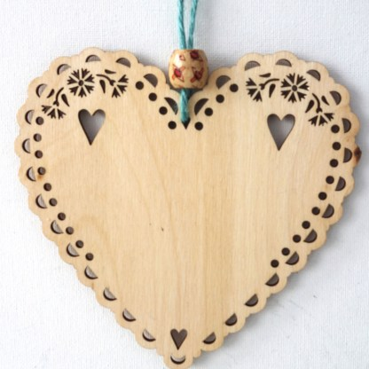 15cm Wooden Hanging Heart - A Man's Home, engraved gift