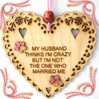 Wooden Hanging Heart My Husband