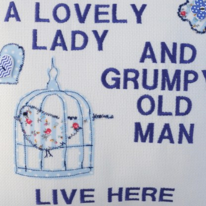 Grumpy Old Man Embroidered Cushion - unique home gift