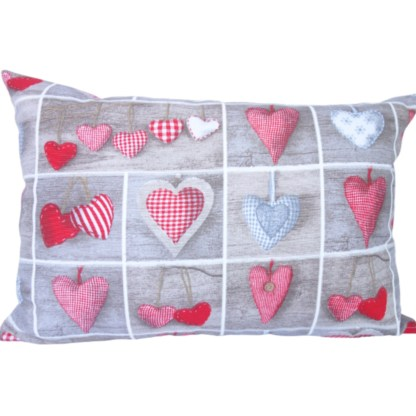 Hearts in Squares Oblong Scatter Cushion