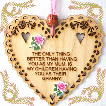 Wooden Hanging Heart Granny