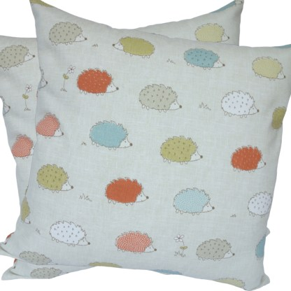 Coloured Hedgehogs design Scatter Cushion
