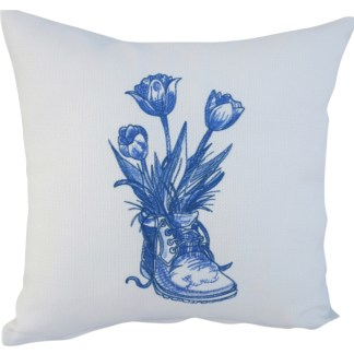 Old Boot Embroidered Cushion