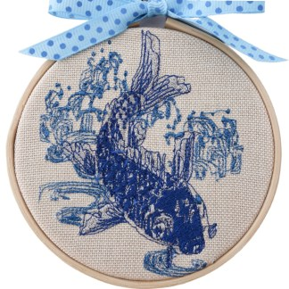 Embroidery Hoop Art - Blue Koi small gift