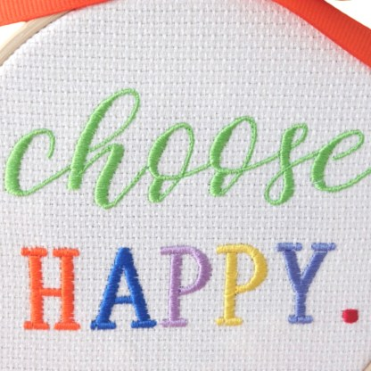 Choose Happy - Embroidery Hoop Art, unique wall hanging gift