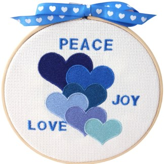 Embroidery Hoop Art - Blue Hearts small gift