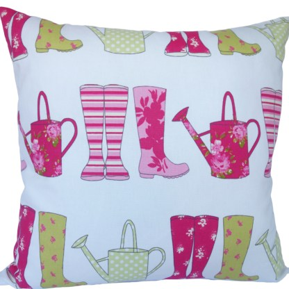 Pink Wellies design Scatter Cushion, home decor gift