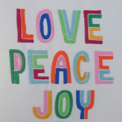 Love Peace Joy Embroidered Cushion - unique home gift