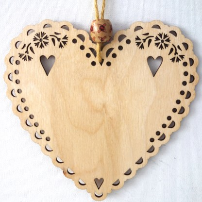 15cm Wooden Hanging Heart - Craziness, engraved gift