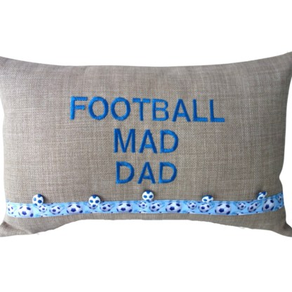Football Mad Dad Embroidered Cushion