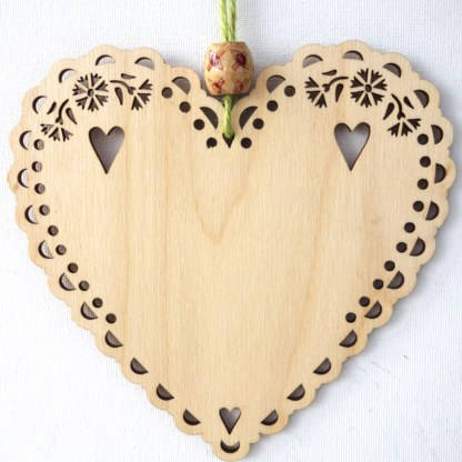 Wooden Hanging Heart - Glam-ma, small gift