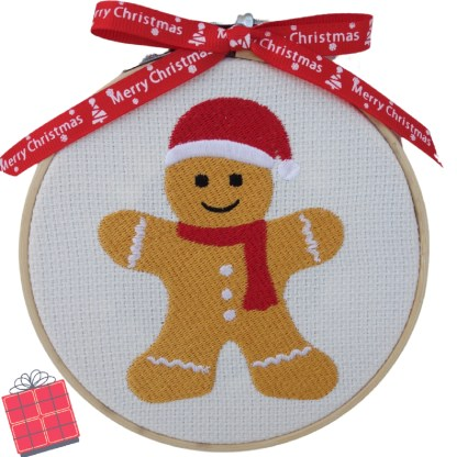 Gingerbread Man Embroidered Hoop