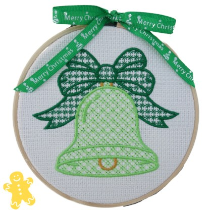 Christmas Bell in Green Embroidered Hoop