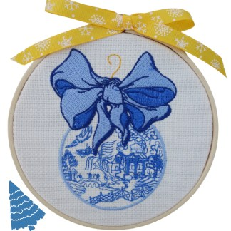 Blue Christmas Bauble Embroidered Hoop