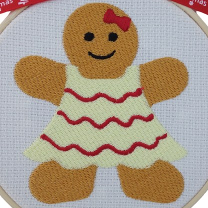 Gingerbread Lady Embroidered Hoop, Christmas gift / decoration
