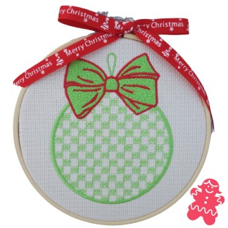 Green Christmas Bauble Embroidered Hoop