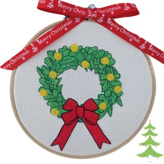 Green Christmas Wreath Embroidered Hoop