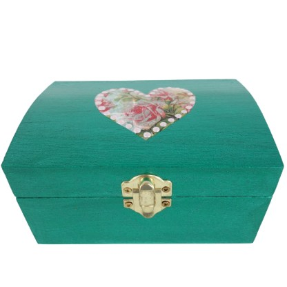 Aria 14cm Wooden Trinket Box, painted and decoupaged gift