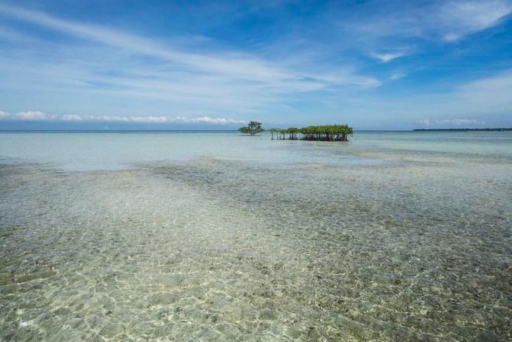 płytka woda tuż przy Virgin Island, dobra do ucieczki przed sprzedawcami biżuterii