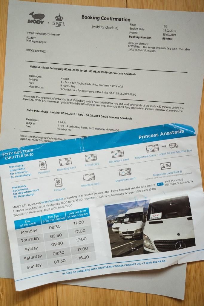 """u góry bilet - jak widzicie, opcja """"City Bus Tour"""" jest wliczona co ceny całości; na dole instrukcja formalności"""