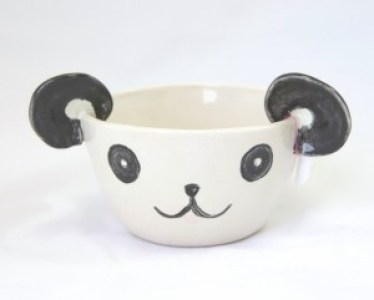 front of the panda planter animal pottery handmade with porcelain