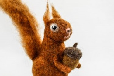 Once Again Sam Etsy Shop Felt Art Felted Squirrel with Acorn