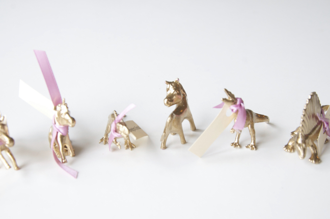 gilded animals with place cards
