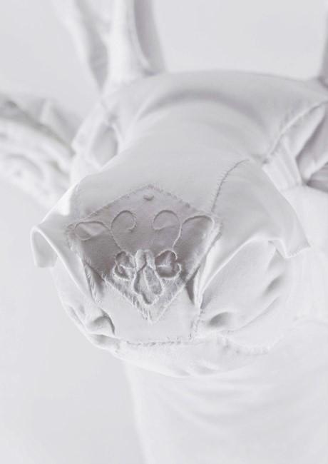 Detail of All White Fabric Deer Head | Beautiful Art of Deer by Lauren Porter UK