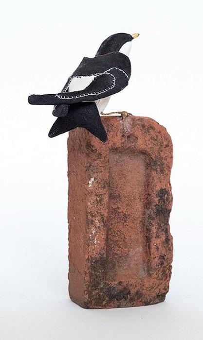 Lauren Porter Bird on a Brick | Handmade Textile Sculpture Contemporary Art