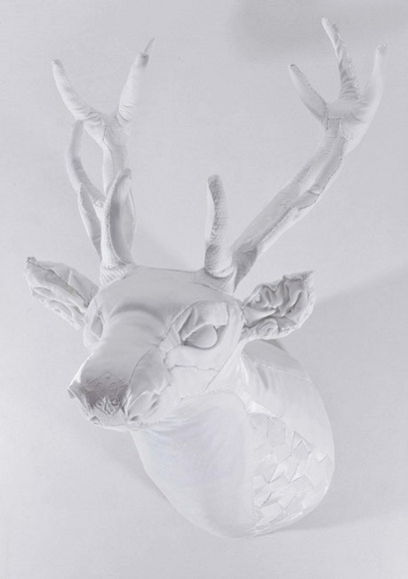All White Fabric Deer Head | Sculpture by Lauren Porter | Contemporary Art UK