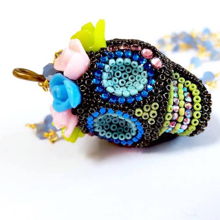Skull Necklace by Brass Thread Handmade Jewelry