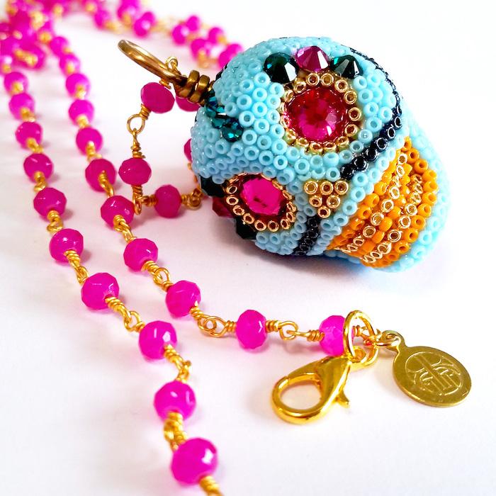 Handmade Skull Necklace by Brass Thread Houston Jewelry Company