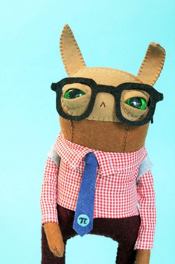 Cat Rabbit Plush Handmade Boy Bunny Doll with Pi Tie So Cute