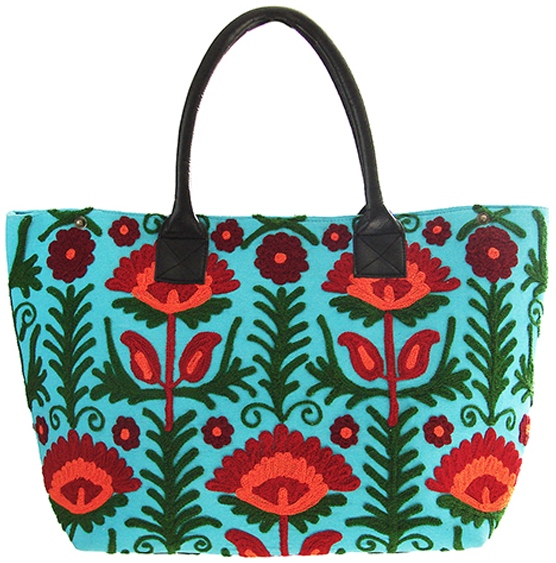 Turquoise Floral Suzani Embroidered Totebag Shop Fair Trade Goods from Musae Imports