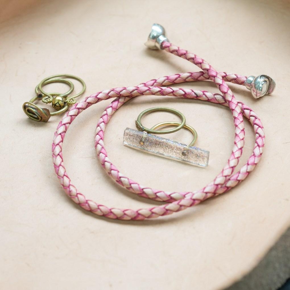 finished leather boho bracelets diy in leather tray