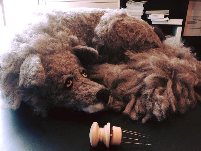 Wolf Sculpture by Kelly Kielsmeier Handmade Sculptures at Pop Shop Houston Festival