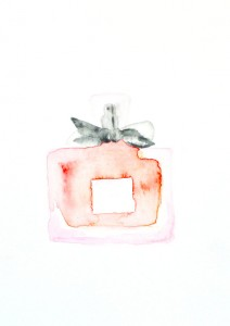 watercolor perfume print from the angean blog etsy shop tess ciarloni