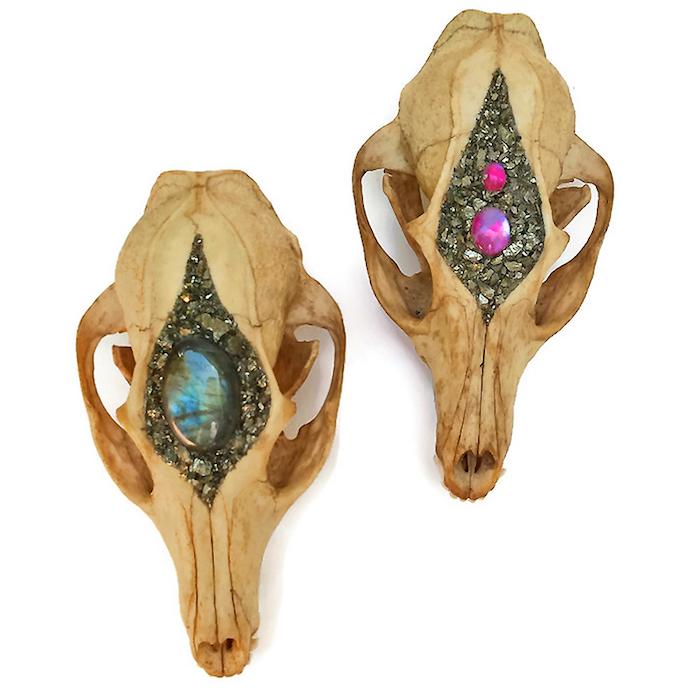 Kristin Jarvis Crystal Fairy Skulls Blue and Pink