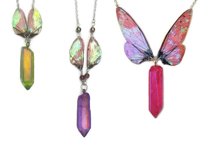 Kristin Jarvis Silver Fairy Wing Aura Quartz Necklaces