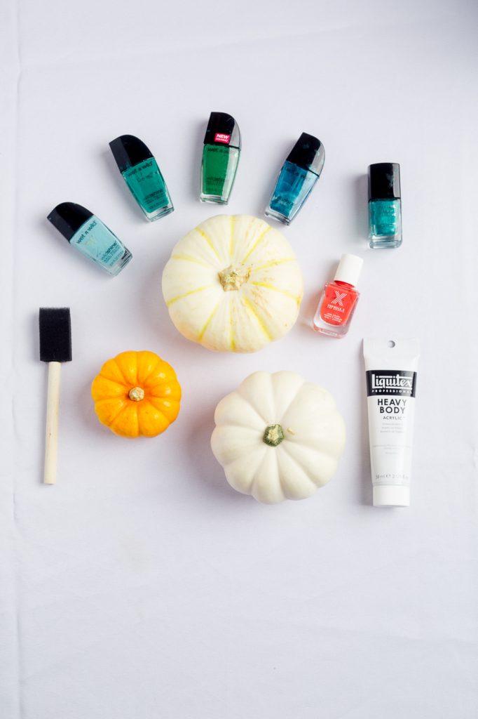 supplies-for-diy-marbled-pumpkins-nail-polish-marbling