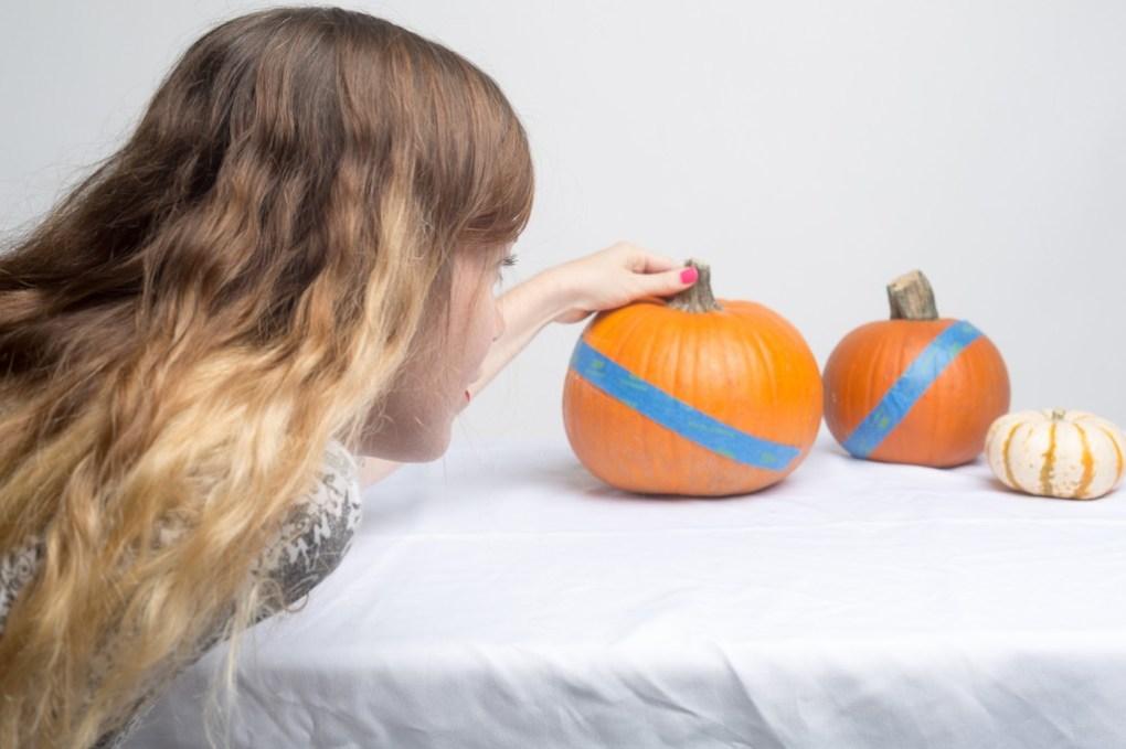 tape your pumpkins disco pumpkins halloween decor ideas