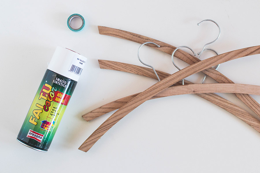Materials to make some simple DIY rose gold hangers