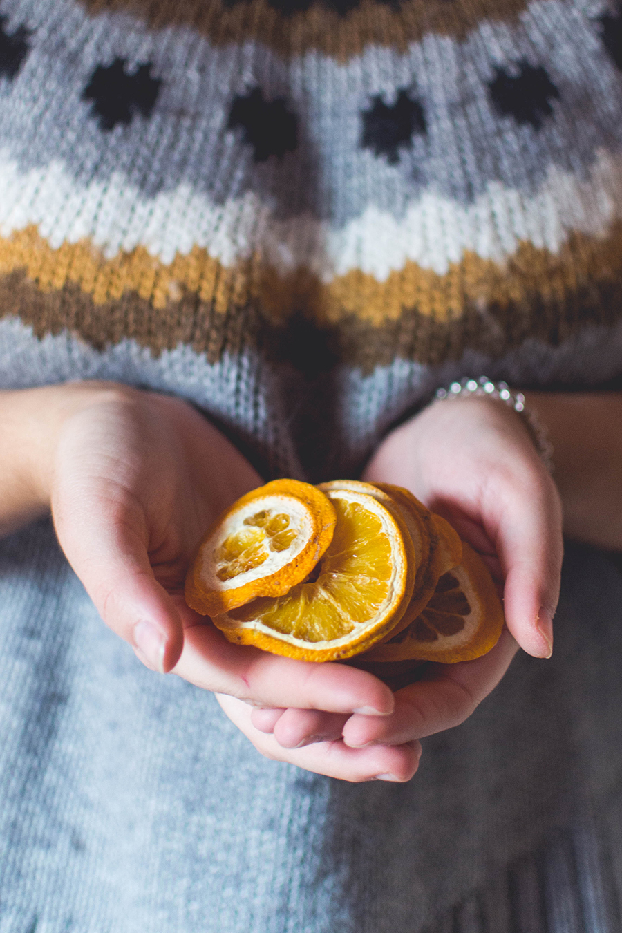 Dried orange slices for natural Christmas wreath DIY