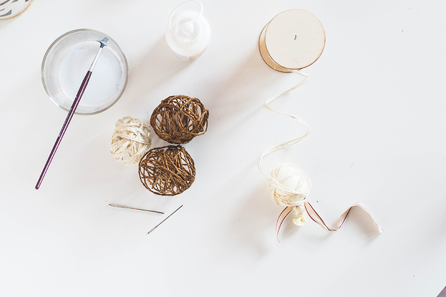 Materials to make twine spheres for your DIY winter scented garland