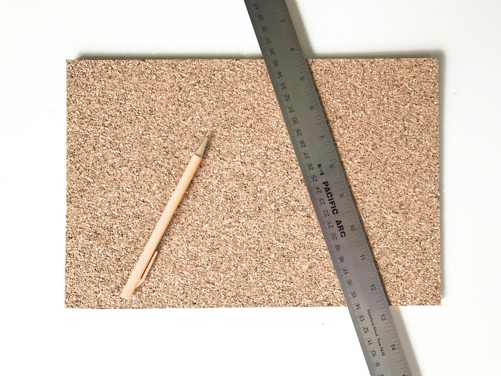 supplies for snowy mountain cork board diy