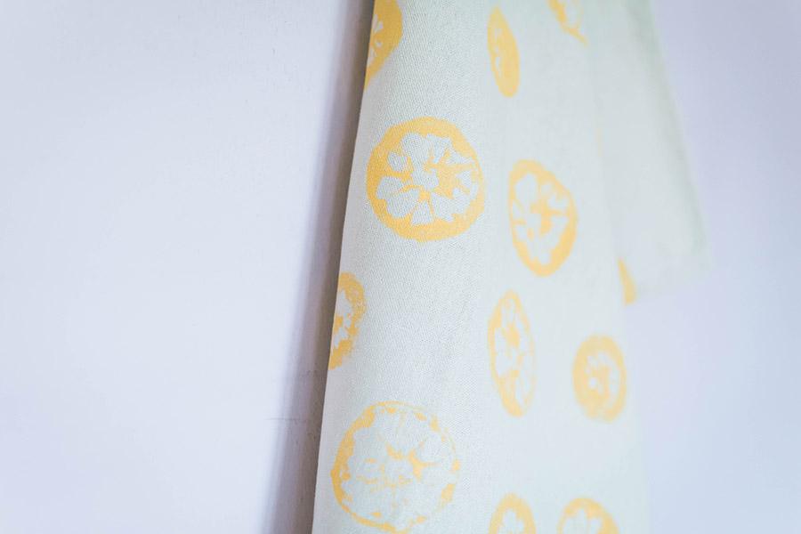 DIY Lemon Stamped Tea Towel Close Up