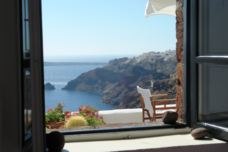 Santorini window view