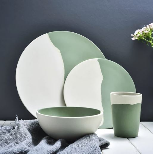 PopsicleSocietyShop_Bamboo green & white tableware_nature