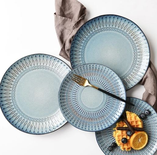 Popsicle Society Shop_Blue & Gray Ceramic Dinnerware