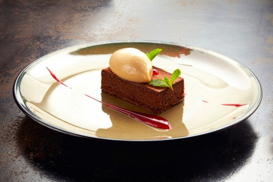 Asian spices gluten free cake with tamarind sorbet and roselle gel